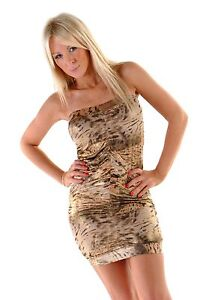 1b3882b1f3f3 Image is loading Erosella-Animal-Print-with-Gold-Shimmer-Lycra-Ruched-