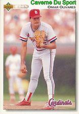 478 OMAR OLIVARES ST. LOUIS CARDINALS BASEBALL CARD UPPER DECK 1992