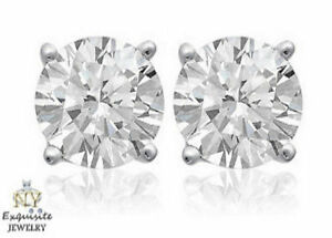 CERTIFIED-90ct-ROUND-G-SI2-GENUINE-DIAMONDS-IN-14K-GOLD-STUDS-EARRINGS
