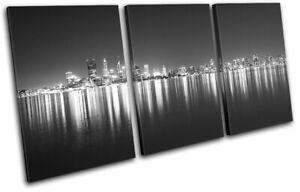Australia-Perth-Skyline-Night-City-TREBLE-CANVAS-WALL-ART-Picture-Print