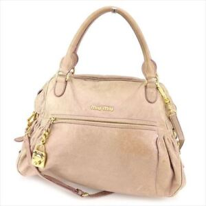 1bebb3a2369c Miu Miu Shoulder bag Pink Beige leather Woman Authentic Used T8577 ...