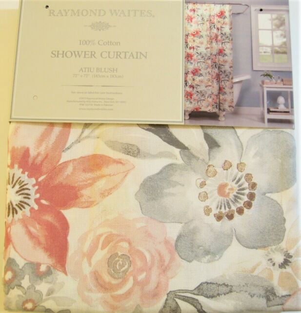 ~ NEW ~ Waverly Idyllic Days Pink Toile Farmhouse Cotton Fabric Shower Curtain