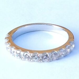 Wedding-Ring-Half-Eternity-925-sterling-silver-simulated-diamond-wedding-band