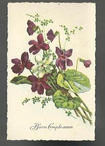 Vecchia Cartolina Formato Piccolo Di Buon Compleanno Con Fiori Ebay