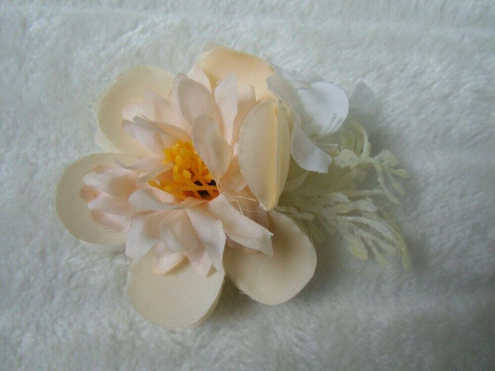 100% De Qualité Pince Clip Barette Cheveux Broche Compositions Florale Fleurs Couleur Pêche ExtrêMement Efficace Pour Conserver La Chaleur