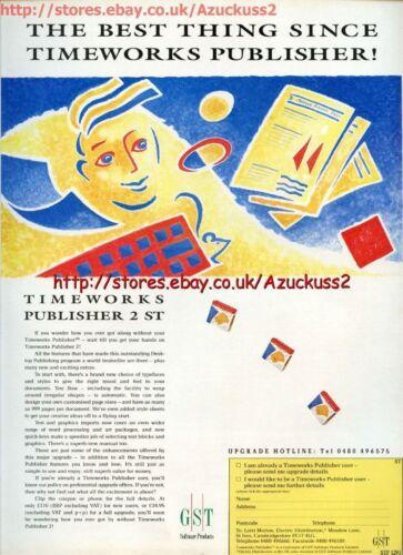 "Timeworks Publisher 2 ST /""GST Software/"" 1991 Magazine Advert #5625"