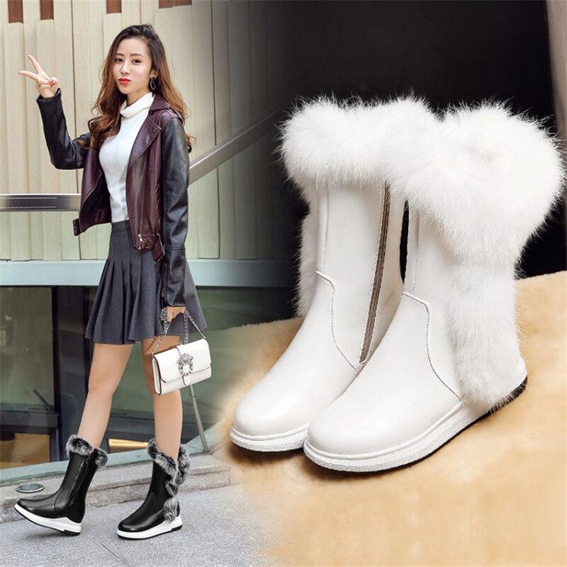 Women's Winter Warm Faux Fur Hidden Heel Ankle Boots Casual Side Zipper shoes Sz