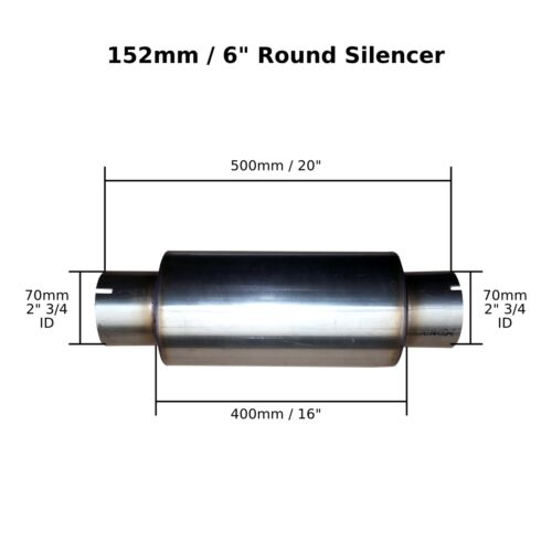 """70mm 6/"""" x 16/"""" Clamp On Stainless Steel Silencer Exhaust Box Body Bore 2/"""" 3//4"""
