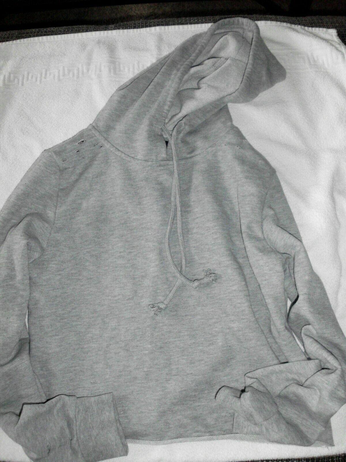 ATHOMSPHERE Mädchen Hoodie Kurz in 32 S Grau mit Löchern