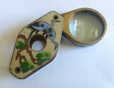 Antique Jewelers Jewelry Loupe Magnifier Tool Hand Painted Enamel and Brass