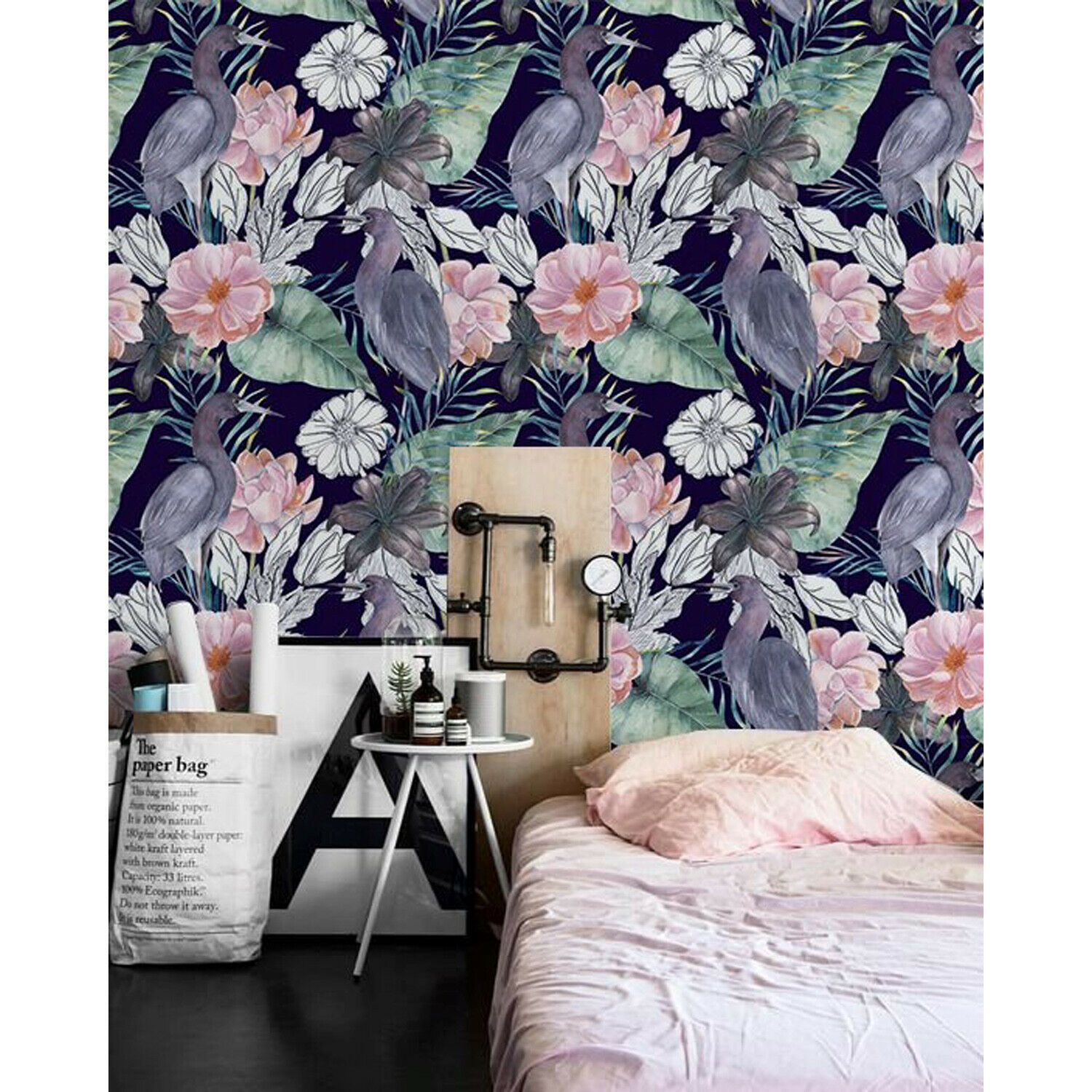 Cranes with flowers Removable wallpaper watercolor colorful Home Decor