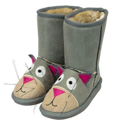 Lazy One Kids Children Child Slipon Gray Cat Kitten Hard Sole Toasty Toes Boots