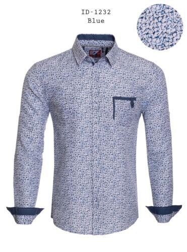 New Mens ID Long Sleeve Button Down Dress Shirt Blue White Marble Print Pockets
