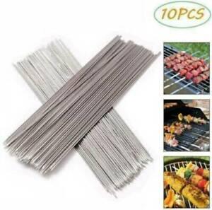 10Pcs High Quality Stainless Steel Barbecue Metal Skewer Needle BBQ Kebab Sticks