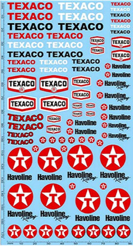 195 x 100 mm Texaco havoline patrocinadores decal #pp12-1 1:24 decal estampados