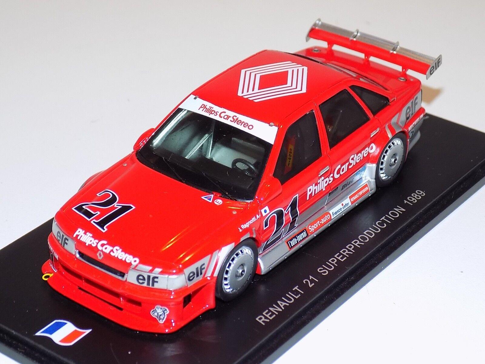 gran venta 1 43 Spark Renault 21 súperproduction en rojo rojo rojo de 1989 SF029  protección post-venta
