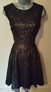 BNWT New NEXT Black Gold Lace Empire Skater Dress 10 14 16 18 ... 3951dd045b15