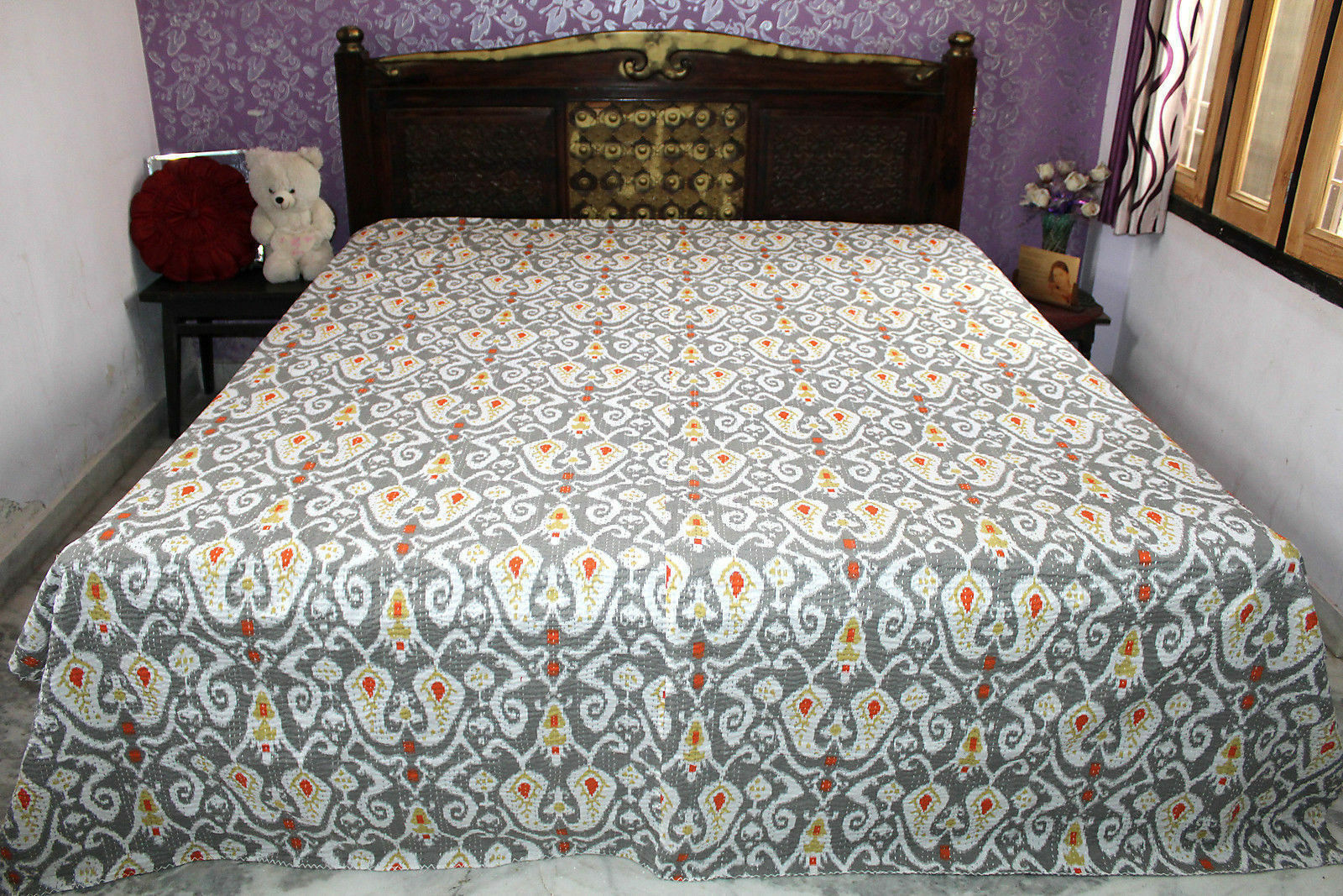 GreIndian handmade Tapestry Twin size Ikat kantha quilt Bedspread Blanket