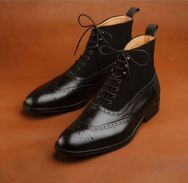 Handmade Men's Black wing tip brogue lace up leather boots, Men ankle high boots