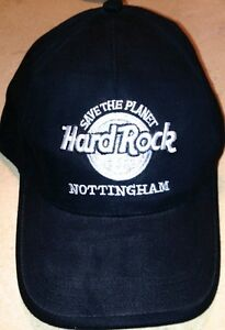 Hard-Rock-Cafe-NOTTINGHAM-Black-Baseball-HAT-034-STP-034-SAVE-THE-PLANET-Silver-Black