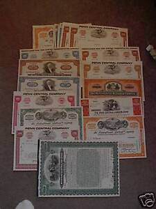 LOT-OF-50-Assorted-VINTAGE-STOCK-CERTIFICATES-RAILWAY