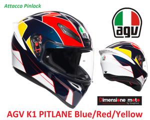 Con Pinlock Casco Integrale AGV K1 PITLANE Blue//Red//Yellow Taglia XL 61 cm