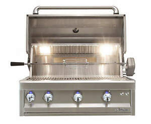 """Alfresco 32"""" Artisan Pro Built-In Gas Grill with Rear Infrared Rotisserie Burner"""