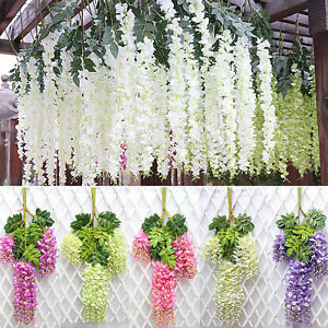 Details About 12pcs Artificial Wisteria Ivy Vine Leaf Hanging Garland Silk Flowers Home Decor