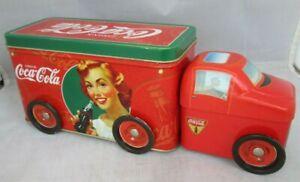 Coca-Cola-Tractor-Trailer-Tin-Retro-Coke-Collectible-Moving-Wheels