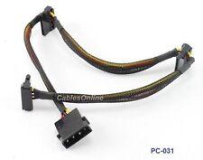 """18"""" 4-Pin Molex Male to 3 SATA 15-Pin Power Connectors"""