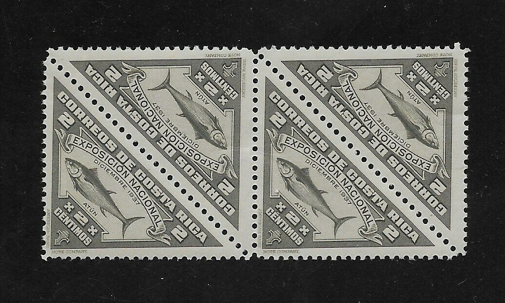 E7464 Costa Rica 1937 NATIONAL PRODUCTS STAMPS TUNA BLOCK OF 4 fish...