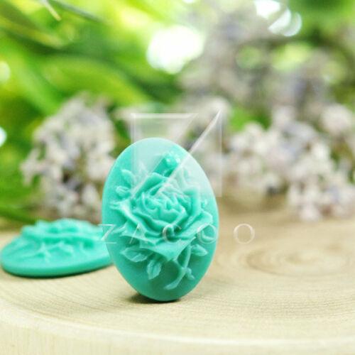 4 Resin Flatback Cabochons Cameo Flower Embellishments 25x18mm Aquamarine BW