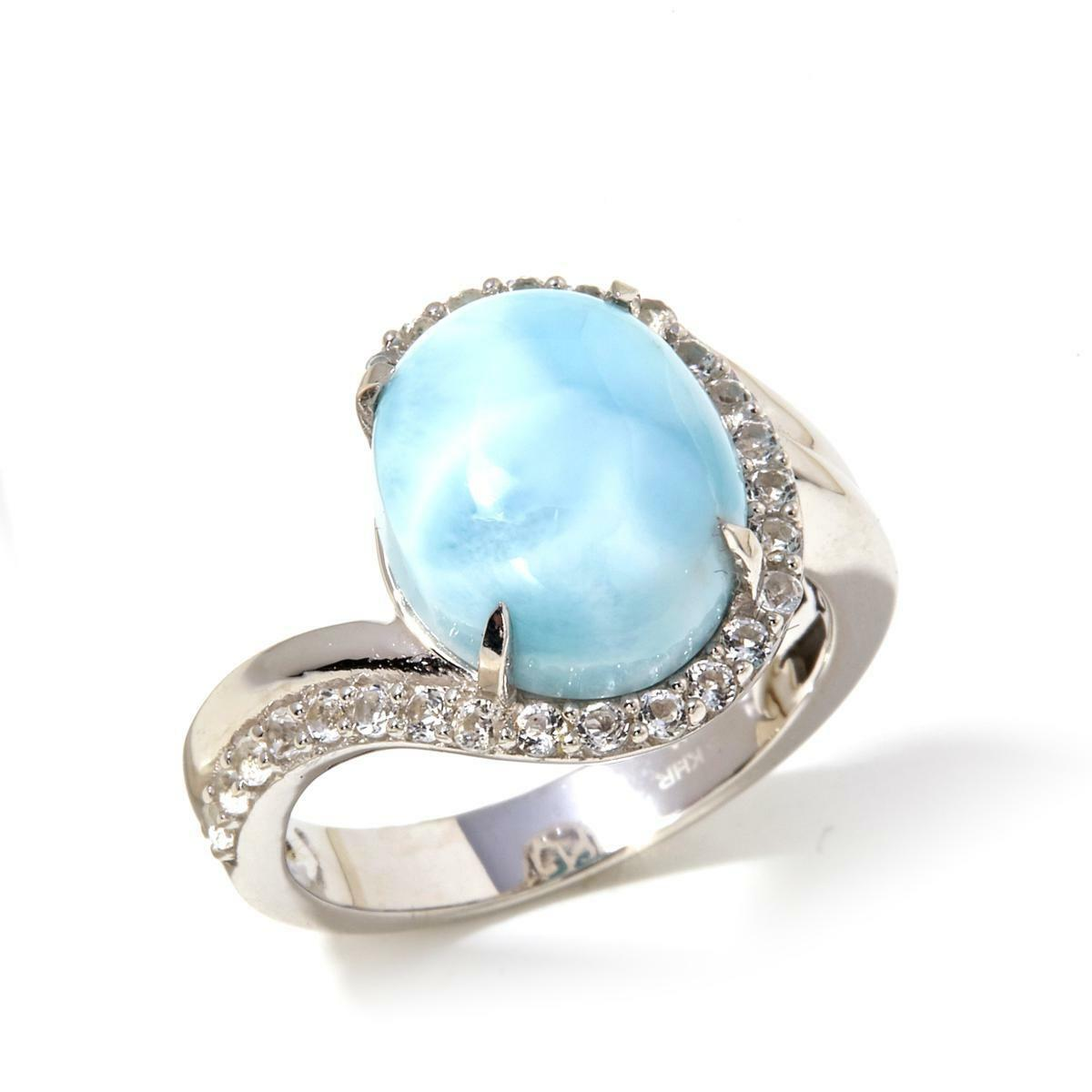 COLLEEN LOPEZ  CARIBBEAN COOL  STERLING LARIMAR AND WHITE TOPAZ RING SIZE 8 HSN