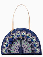 Kate Spade York Full Plume Straw/leather Blue Peacock Bag Tote Carryall