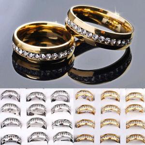 Heisser-Verkauf-Unisex-Bridal-Silber-Gold-Edelstahl-Kristall-Band-Ringe-17-21mm