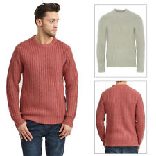 Mens Jumper Brave Soul Cable Knitted Waffle Crew Neck Pullover Sweater Zip Warm