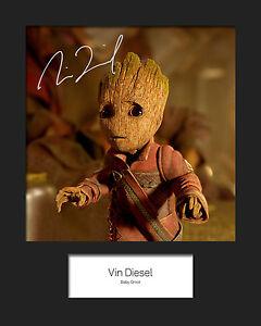 GotG-Vol-2-VIN-DIESEL-Baby-Groot-4-Signed-Reprint-10x8-Mounted-Photo-Print