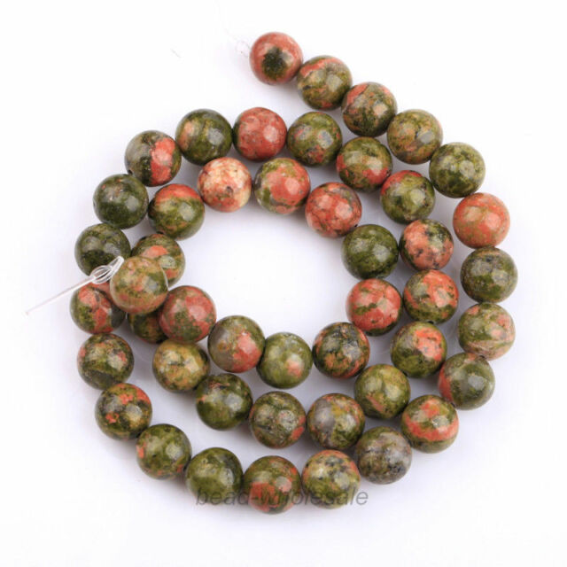 About 45Pcs New 8mm Natural Unakite Gemstone Spaer Loose Beads Fit Jewelry DIY