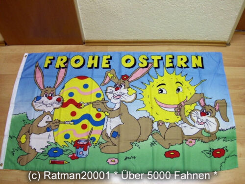 Fahnen Flagge Frohe Ostern 3 Hasen Sonne 90 x 150 cm