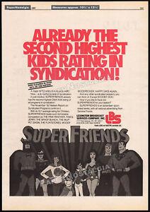 SUPER-FRIENDS-Original-1983-Trade-print-AD-poster-syndication-promo-Superman