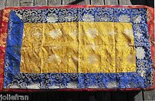 "GOLDEN & ROYAL BLUE 22"" BY 37"" SILK BROCADE ALTAR CLOTH TIBETAN BUDDHIST NEPAL"