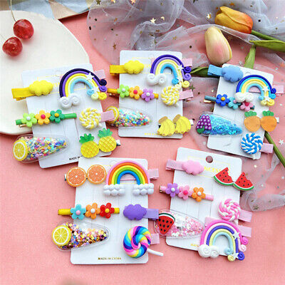 Details about  /6Pcs Cute Fruit Girl/'s Baby Hair Clips Snaps Hairpin Kid Hair Bows Accessories