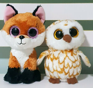Lot-of-2x-TY-Beanie-Boos-Swoops-the-Owl-amp-Slick-the-Fox-13-16cm-Tall