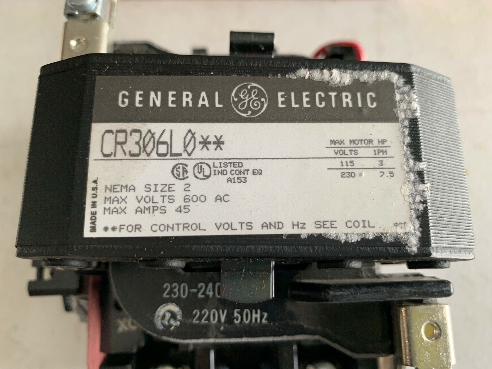 1 Overload GENERAL ELECTRIC MAGNETIC STARTER CR306J102 2 Poles