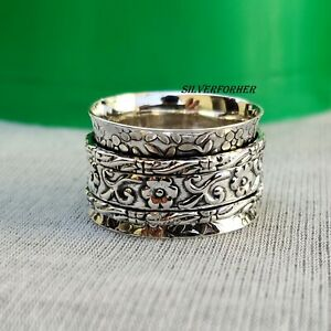 Solid-925-Sterling-Silver-Spinner-Ring-Wide-Band-Meditation-Statement-Jewelry-g3