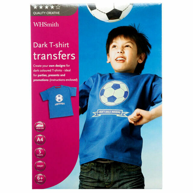 WHSmith A4 Light T-Shirt Transfer For Inkjet Printers For 6 Pack Of 10 Sheets