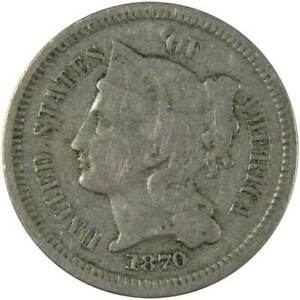 1870 Three Cent Piece VG Very Good Nickel 3c US Type Coin Collectible