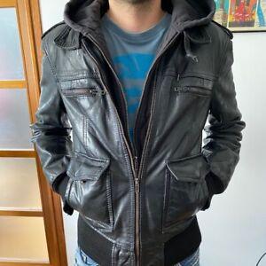Belle veste / Blouson cuir homme capuche détachable molton Sergio Pariente t. S
