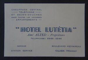 Ancienne Carte De Visite HOTEL LUTETIA Garage Station