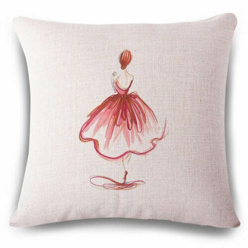 Ballet Fille en lin Fashion Throw Taie d/'oreiller Housse de Coussin Maison Canapé Décor